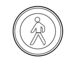 Dibujo de Entrada prohibida a los peatones para colorear