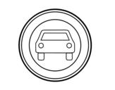 Dibujo de Entrada prohibida a vehículos de motor excepto motos de dos ruedas sin sidecar para colorear