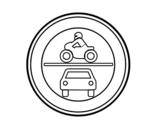 Dibujo de Entrada prohibida a vehículos de motor para colorear
