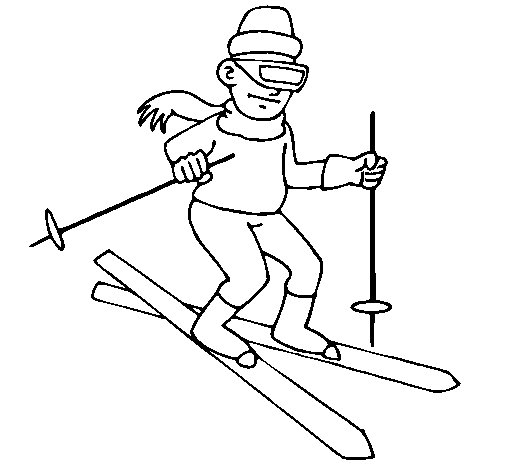 Dibujo de Esquiador II para Colorear