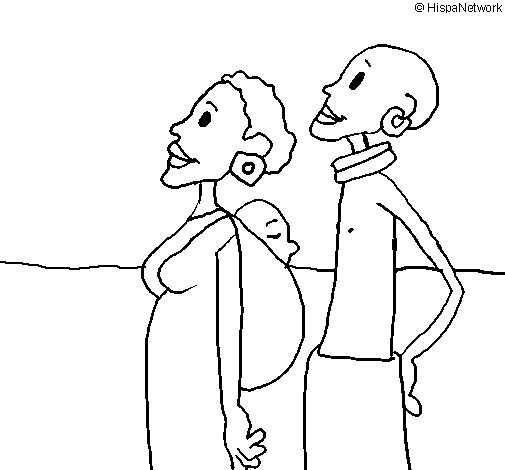 Dibujo de Familia de Zanmbia para Colorear