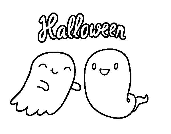 Dibujo de Fantasmas de Halloween para Colorear