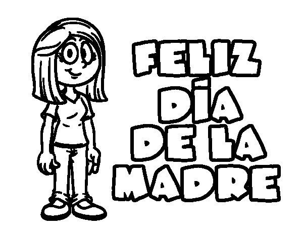 Dibujo de Feliz da de la madre para Colorear  Dibujosnet