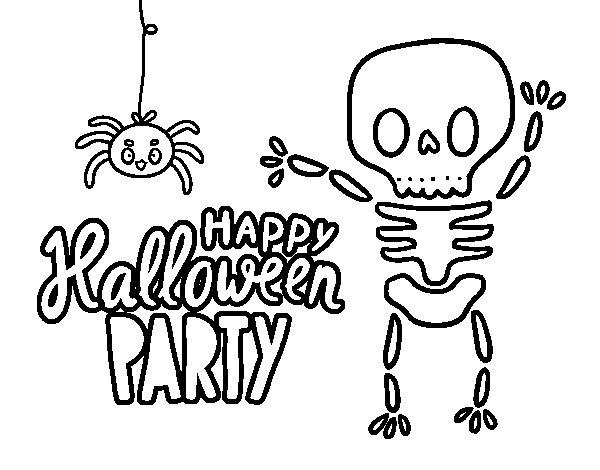 Dibujo de Feliz fiesta de Halloween para Colorear
