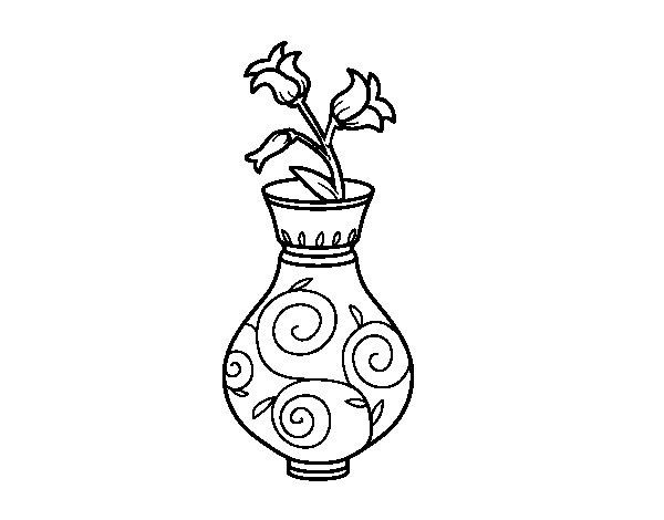 Dibujo de Flor de campanilla en un jarrón para Colorear