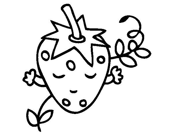Dibujo de Fresa pensando para Colorear  Dibujosnet