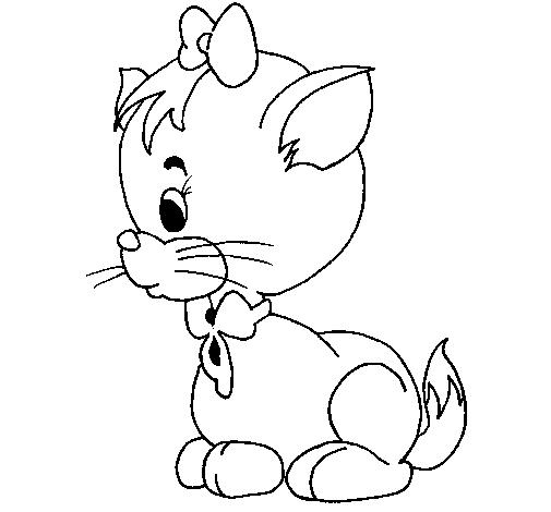 Dibujo de Gatita con lazo para Colorear  Dibujosnet