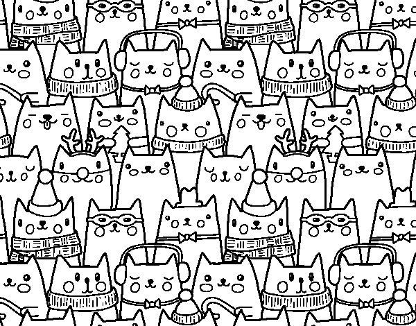 Dibujo de Gatitos Navidad para Colorear