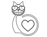 Dibujo de Gato amor para colorear