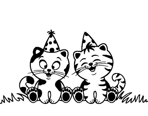 Dibujo de Gatos de cumpleaños para Colorear - Dibujos.net