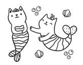 Dibujo de Gatos sirena para colorear
