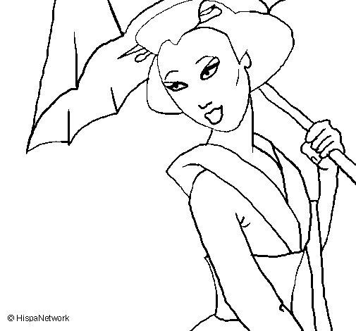 Dibujo de Geisha con paraguas para Colorear