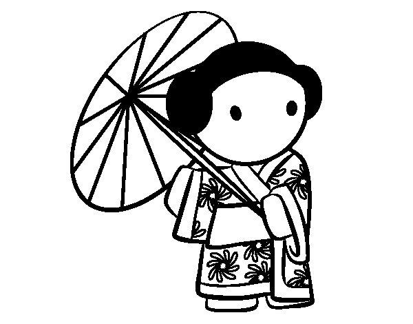 Dibujo de Geisha con sombrilla para Colorear