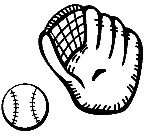 Dibujo de Guante y bola de béisbol para Colorear