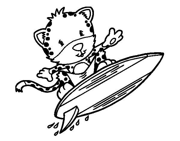 Dibujo de Guepardo surfista para Colorear