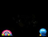 Dibujo de Gumball y amigos contentos para colorear