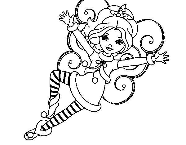 Dibujo de Hada duende de Navidad para Colorear  Dibujosnet