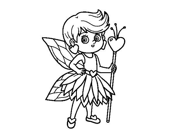 Dibujo de Hada princesa de corazones para Colorear