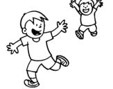 Dibujo de Hermanos corriendo para colorear