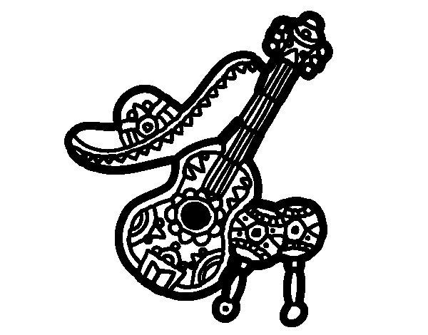 Dibujo de Instrumentos mexicanos para Colorear  Dibujosnet