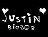 Dibujo de Justin Bieber entre corazones para colorear