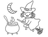 Dibujo de La bruja voladora y su pócima para colorear