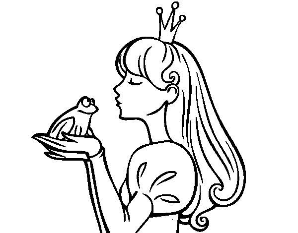 dibujo de la princesa y la rana para colorear