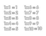 Dibujo de La Tabla de multiplicar del 1 para colorear