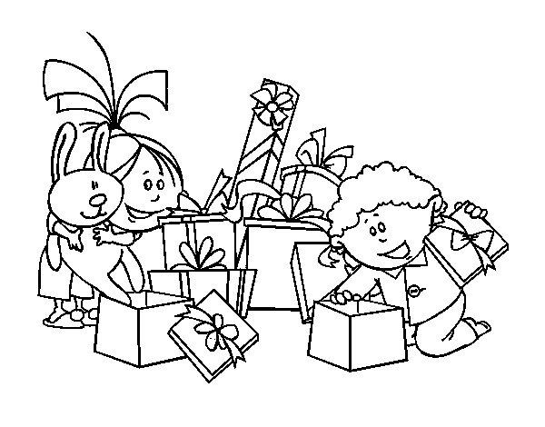 Dibujo de Los niños y los regalos para Colorear