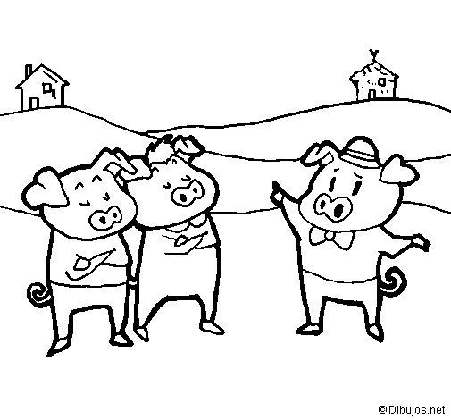 Dibujo de Los tres cerditos 5 para Colorear