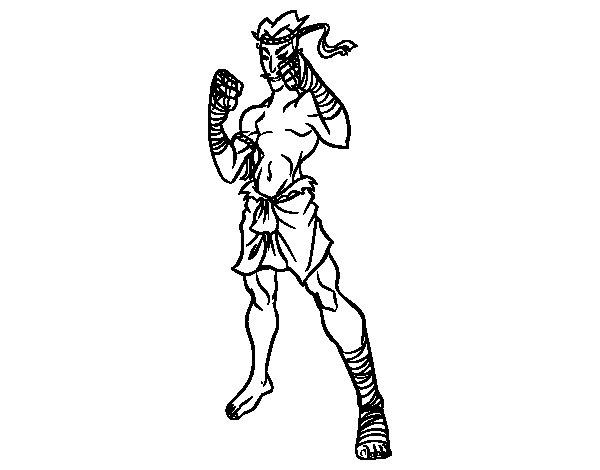 Dibujo de Luchador de Muay Thai para Colorear