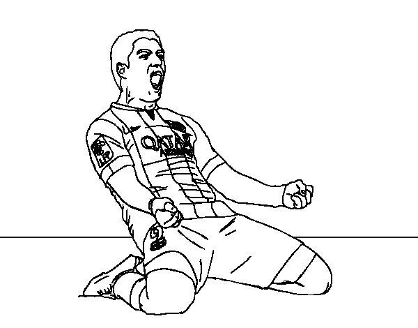 Dibujo de Luis Suárez del Barça para Colorear