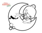 Dibujo de Luna Kawaii para colorear