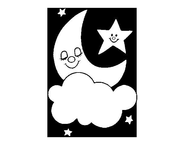 Dibujo de Luna y estrellas para Colorear