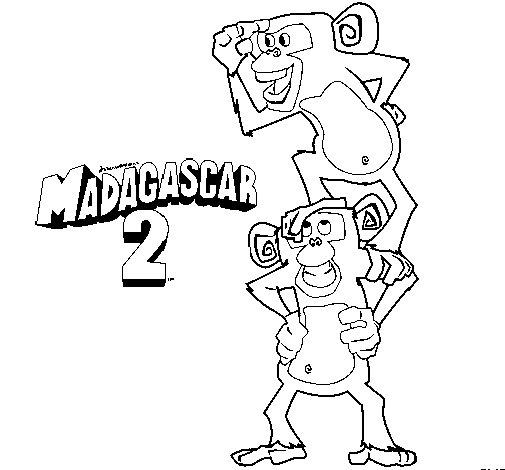 Dibujo de Madagascar 2 Manson y Phil para Colorear