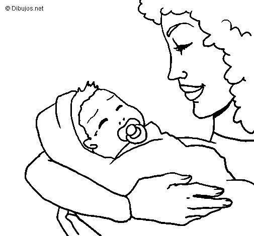 Dibujo de madre con su bebe ii para colorear - Dibujos pared bebe ...