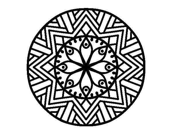 Dibujo de Mandala flor de bambú para Colorear