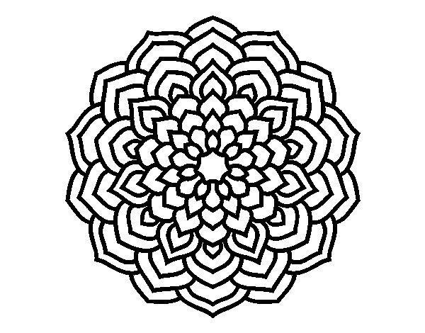 Dibujo de Mandala ptalos de flor para Colorear  Dibujosnet