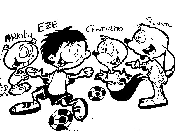Dibujo de Markolin, Eze, Centralito y Renato jugando al fútbol para Colorear