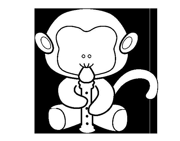 Dibujo de Mono flautista para Colorear
