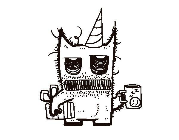 Dibujo de Monstruo con regalos de cumpleaños para Colorear