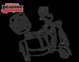 Dibujo de Mr Peabody y Sherman en moto para colorear