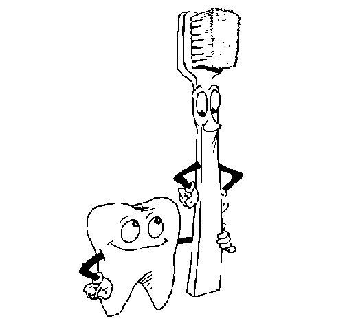 Dibujo de Muela y cepillo de dientes para Colorear