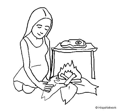 Dibujo de Mujer cocinando para Colorear
