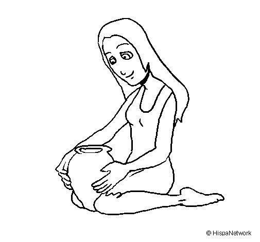 Dibujo de mujer y jarr n para colorear for Dibujo de una piedra para colorear