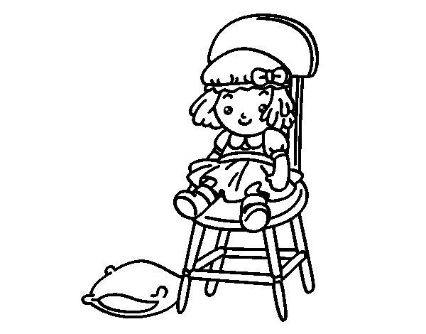 Dibujo de Muñeca sentada para Colorear