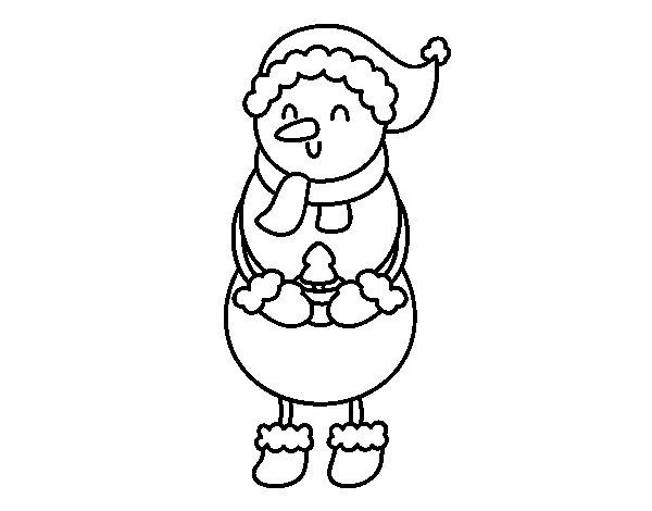 Muñeco De Nieve Dibujo: Dibujo De Muñeco De Nieve Con Arbolito Para Colorear