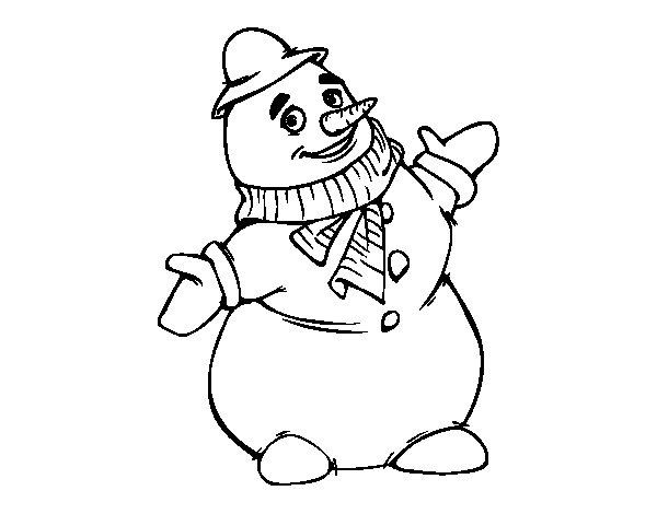 Dibujo de Muñeco de nieve sonriendo para Colorear