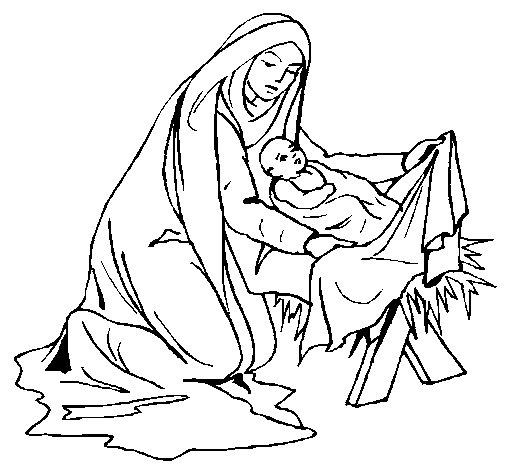 Dibujo de Nacimiento del niño Jesús para Colorear