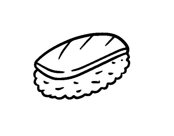 Dibujo de Niguiri de pescado para Colorear